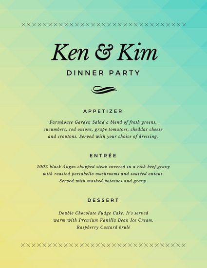 Dinner Party Menu Templates - Canva