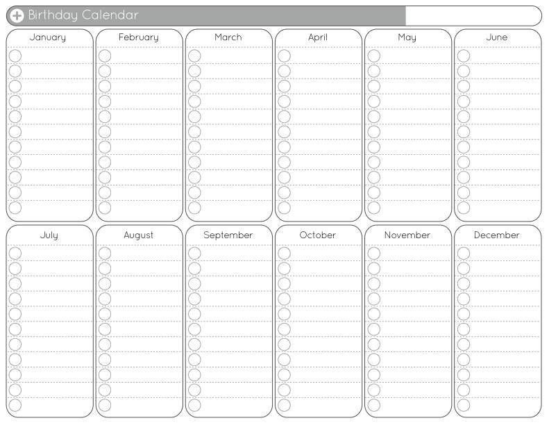 Yearly Calendar Template | blank calendar printable