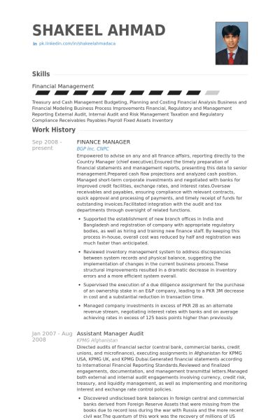 Finance Manager Resume samples - VisualCV resume samples database