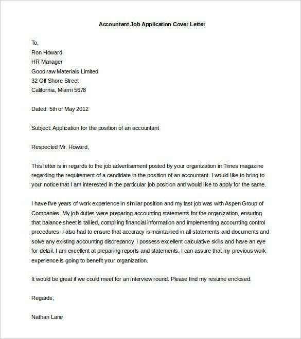 Sample Of Cover Letter For Applying Job #11206