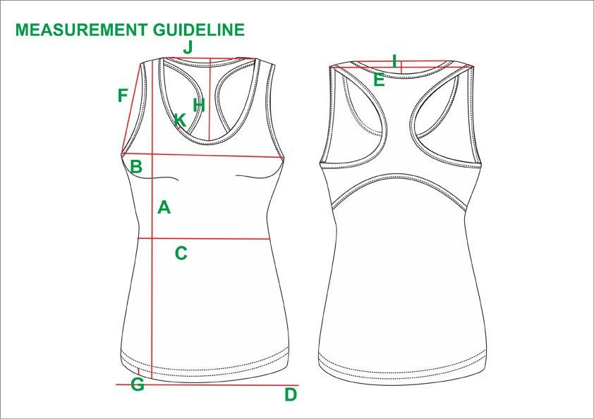 Tech Pack Template Ladies Tank Top USA Standard Size