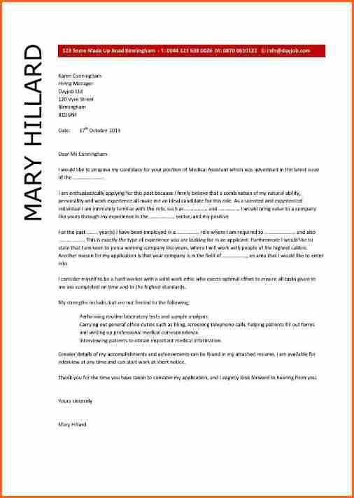 10 sample cover letter for medical assistant - Budget Template Letter