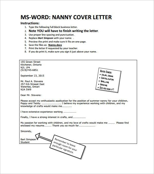Sample Nanny Cover Letter - 3+ Free Documents in Word, PDF