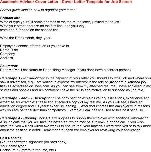 sample cover letter academic advisor position for Cover Letter For ...