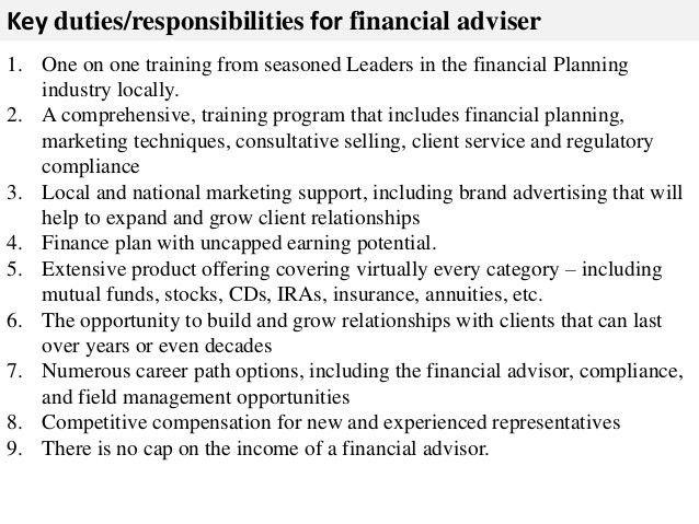Financial adviser job description