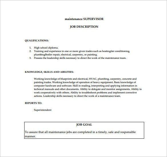 operations supervisor job description