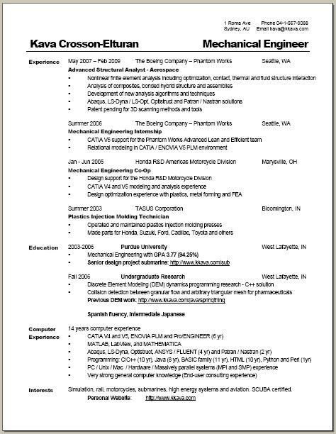 australian resume format sample