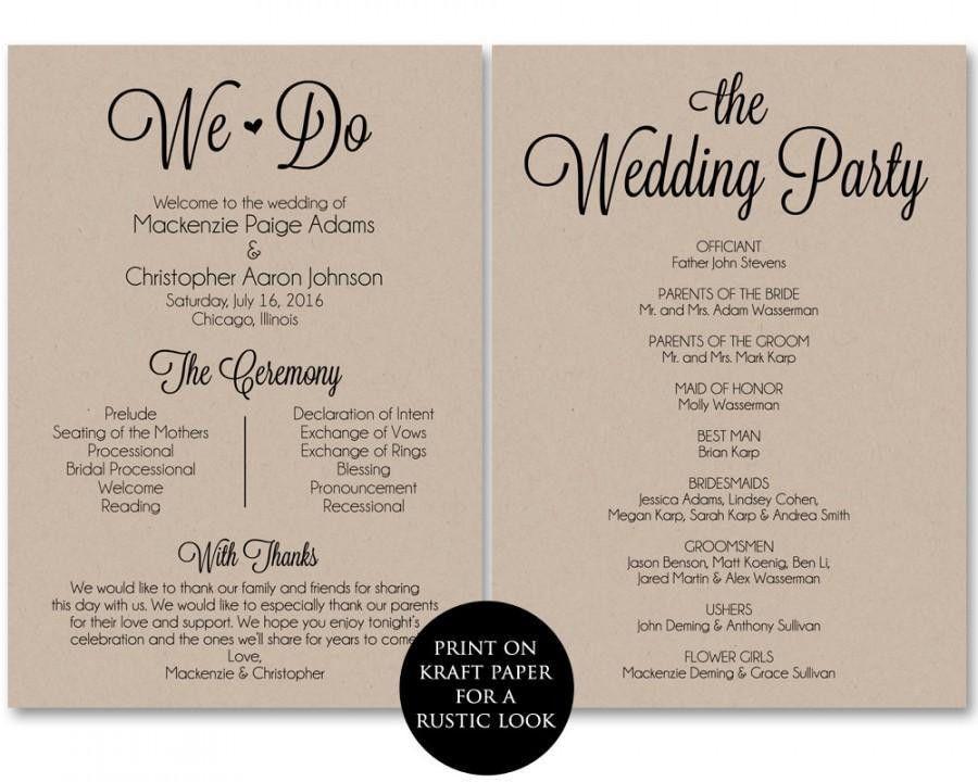 Ceremony Program Template, Wedding Program Printable, We Do ...