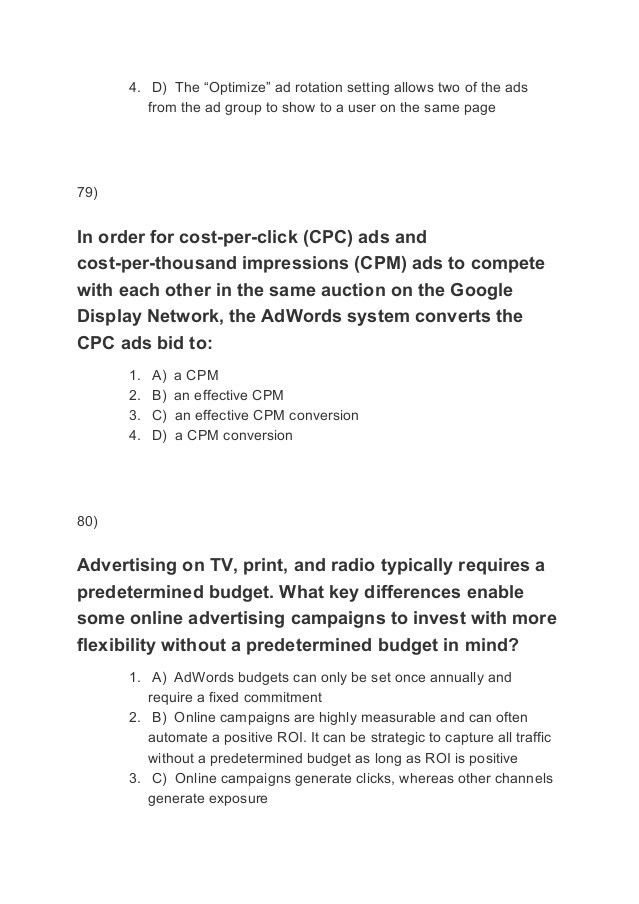 Google Adwords Fundamentals Exam Answers