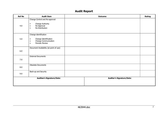 Audit Report Form in Word and Pdf formats - page 2 of 3