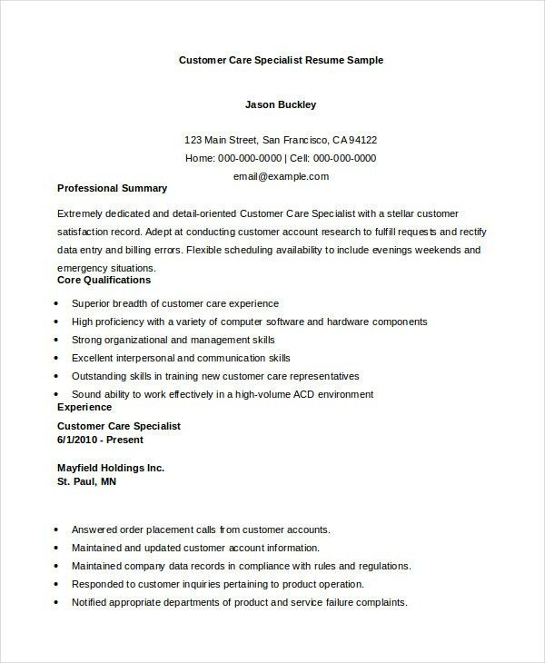 Customer Service Resume - 11+ Free Word, PDF Documents Download ...