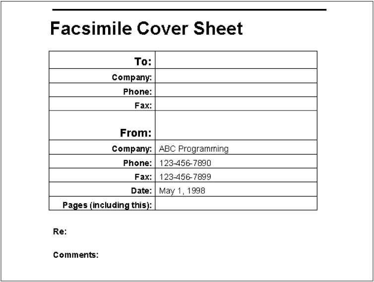 Example: A Fax Cover Sheet - Writing Word Macros, Second Edition ...