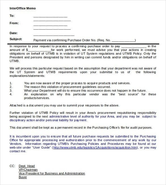 Interoffice Memo Templates - 20+ Free Sample, Example, Format ...
