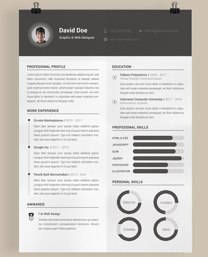 40 Best Free Resume Templates 2017 PSD, AI, DOC