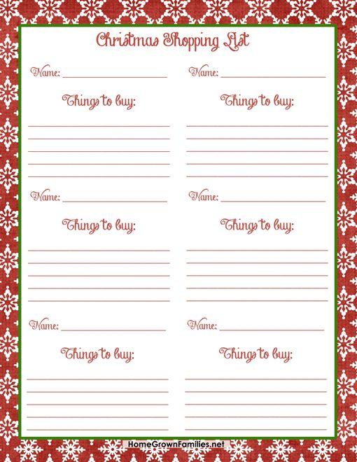 Christmas Shopping List FREE Printable - Home Grown Families