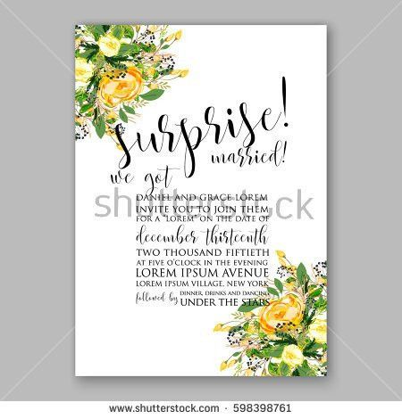Wedding Invitation Card Template Yellow Rose Stock Vector ...