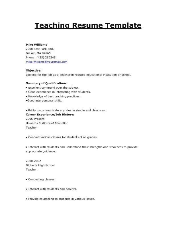 Teaching Objectives Resume For