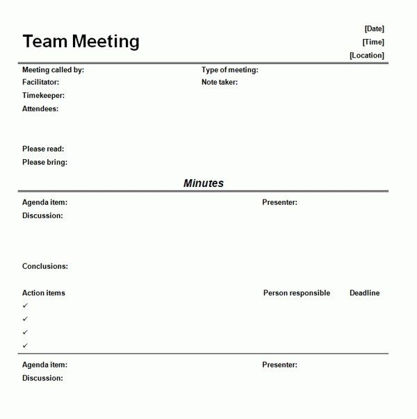 Informal Meeting Minutes Template | Template Idea