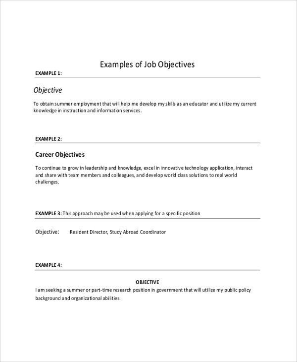 Sample Objective on Resume - 8+ Examples in Word, PDF