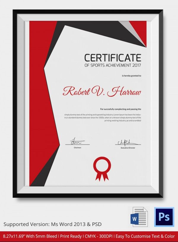 Sports Achievement Certificate - 5+ Word, PSD Format Download ...
