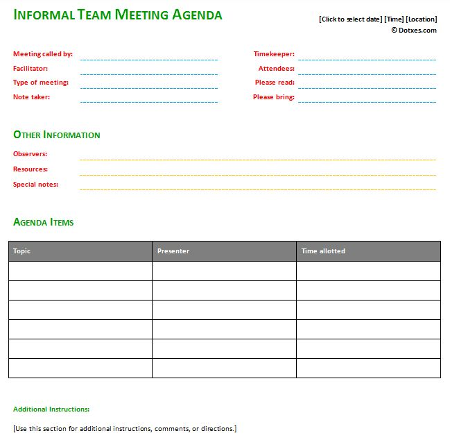 Informal meeting agenda template with basic format | Agenda ...