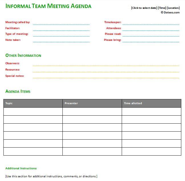 Informal Meeting Agenda Template With Basic Format | Agenda ...