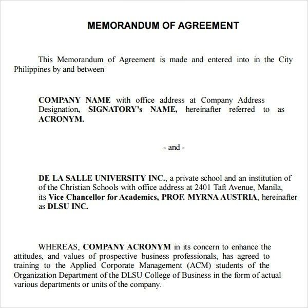 memorandum of agreement between two parties sample | Best Template ...