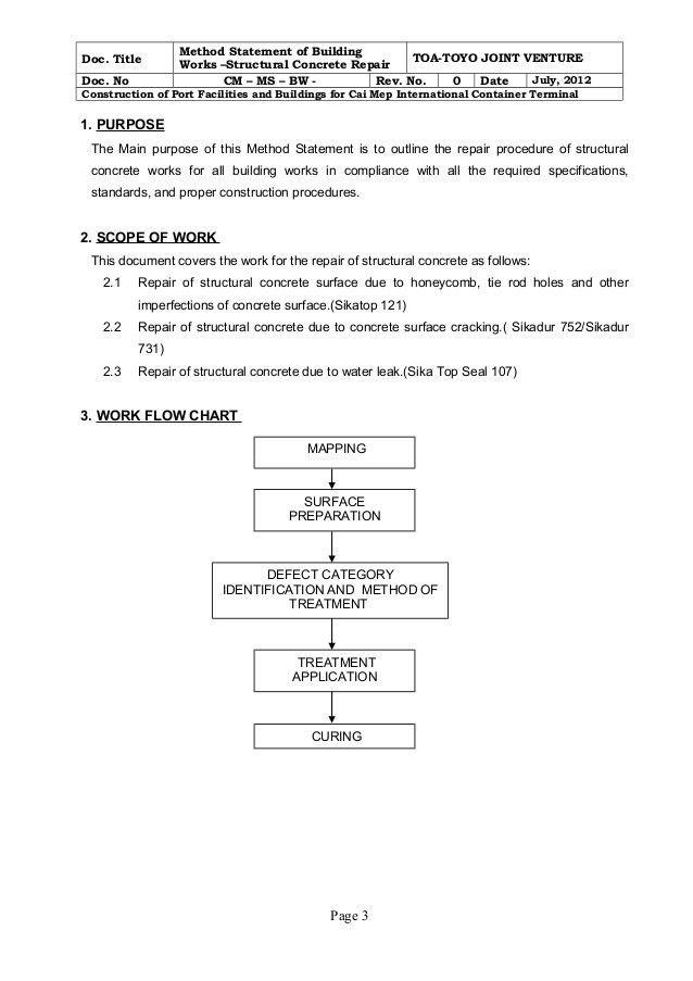 Method statement for structural concrete repair rev.0
