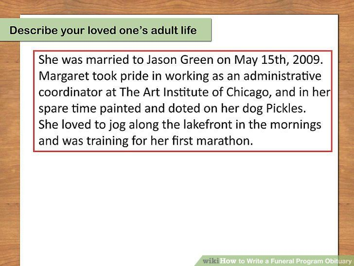 How to Write a Funeral Program Obituary (with Pictures) - wikiHow