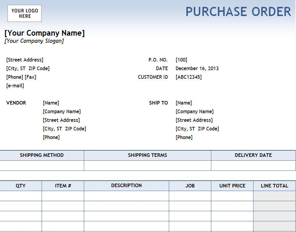 Excel Purchase Order Template | Purchase Order Template Excel