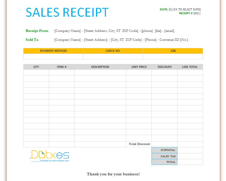 Sales receipt template (For Word) - Dotxes