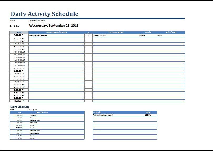 MS Word Daily Activities Schedule Form Template | Word Document ...
