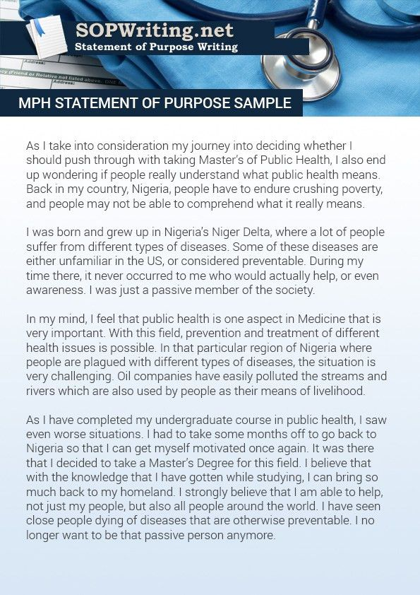 Check This Awesome MPH Statement of Purpose Sample | Statement of ...