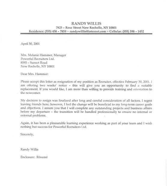 Letter Sample | Letter of Resignation, Examples, Format