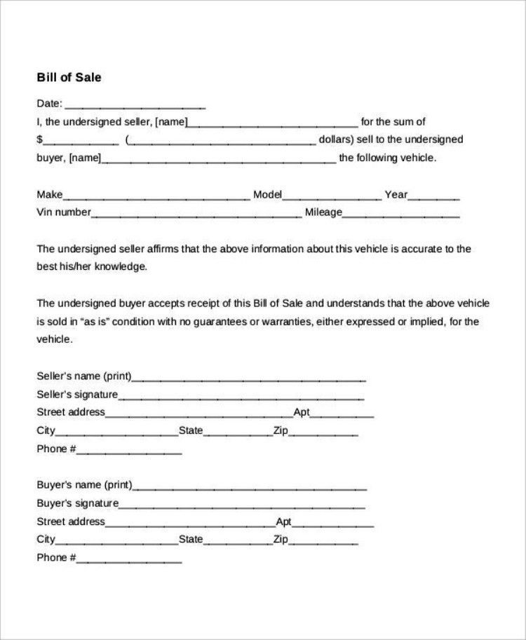 Free Printable Generic Auto Bill Of Sale Form | TemplateZet