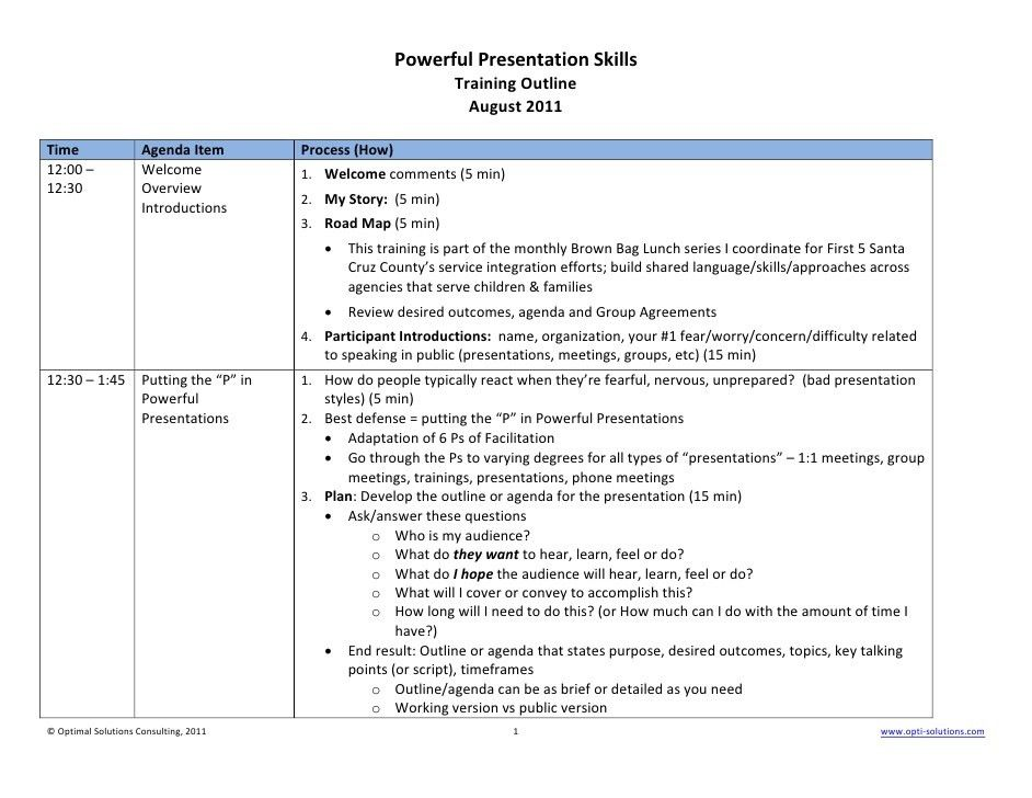 Powerful presentation skills training outline (example)