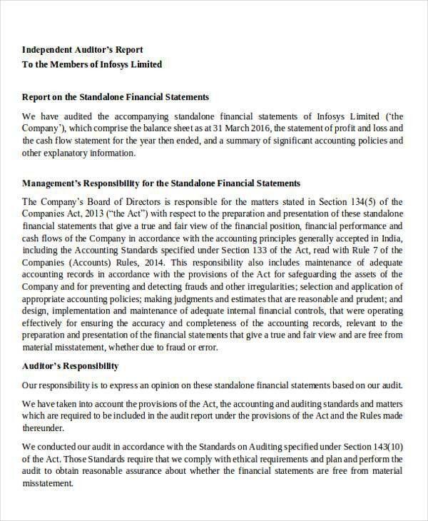 External Audit Report Template Sample External Audit Report 8 – Audited Accounts Template