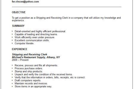 Shipping Clerk Resume Samples Shipping And Receiving Resume ...
