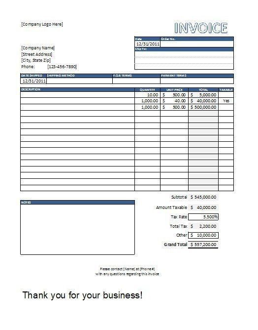Contractor Invoice Template. Invoice Template Contractor | Free ...