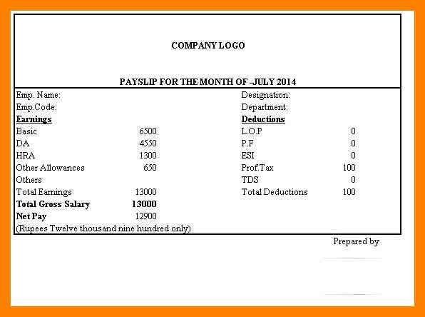 7+ simple salary slip format | simple cv formate