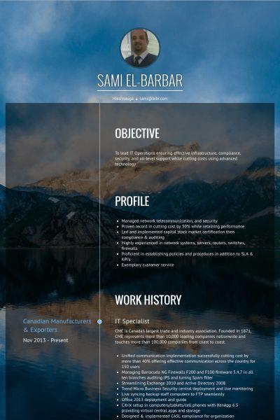 It Specialist Resume samples - VisualCV resume samples database
