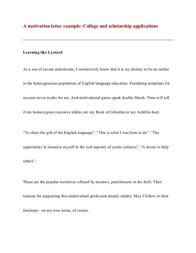 Motivation letter - motivation essay : An example