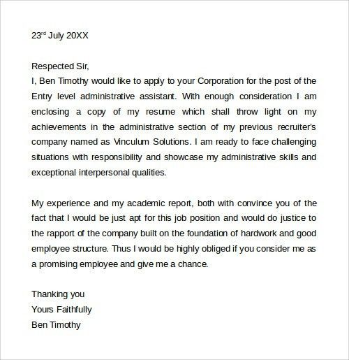 Sample Cover Letter Template - 19+ Download Free Documents in Word