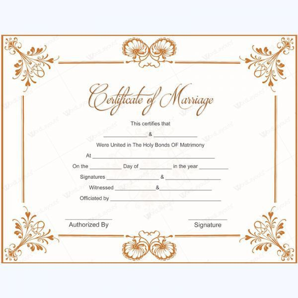 Wedding Certificate Template. Marriage Certificate Document ...
