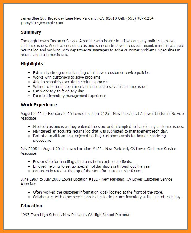 6+ customer service associate resume | parts of resume