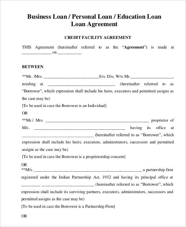 Loan Agreement Template | rubybursa.com