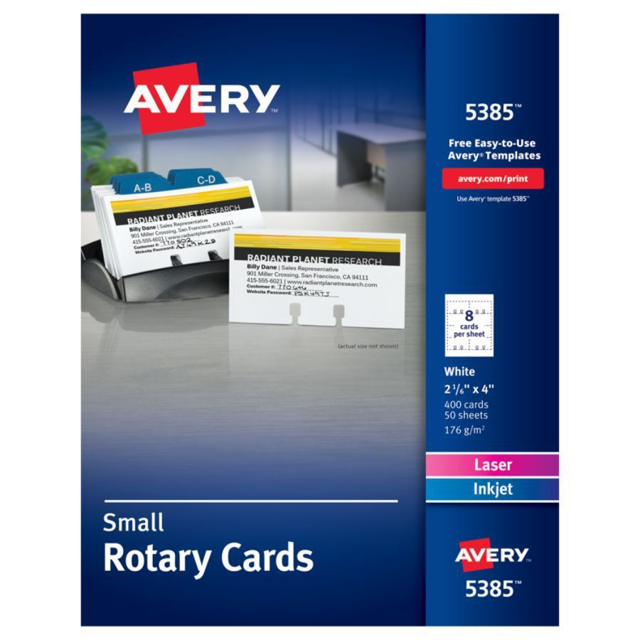 Avery Laser Rotary Cards 2 16 x 4 Box Of 400 by Office Depot ...