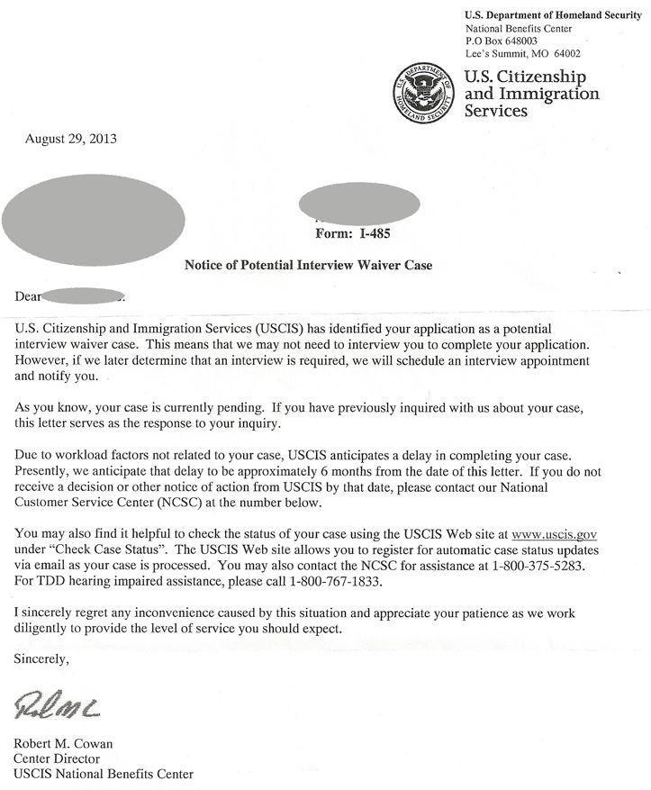 USCIS Notice of Potential Interview Waiver | Immigration Road Blog