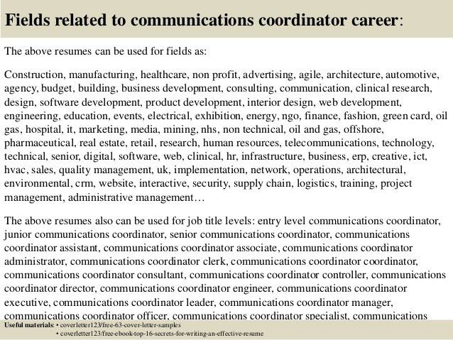 Top 5 communications coordinator cover letter samples