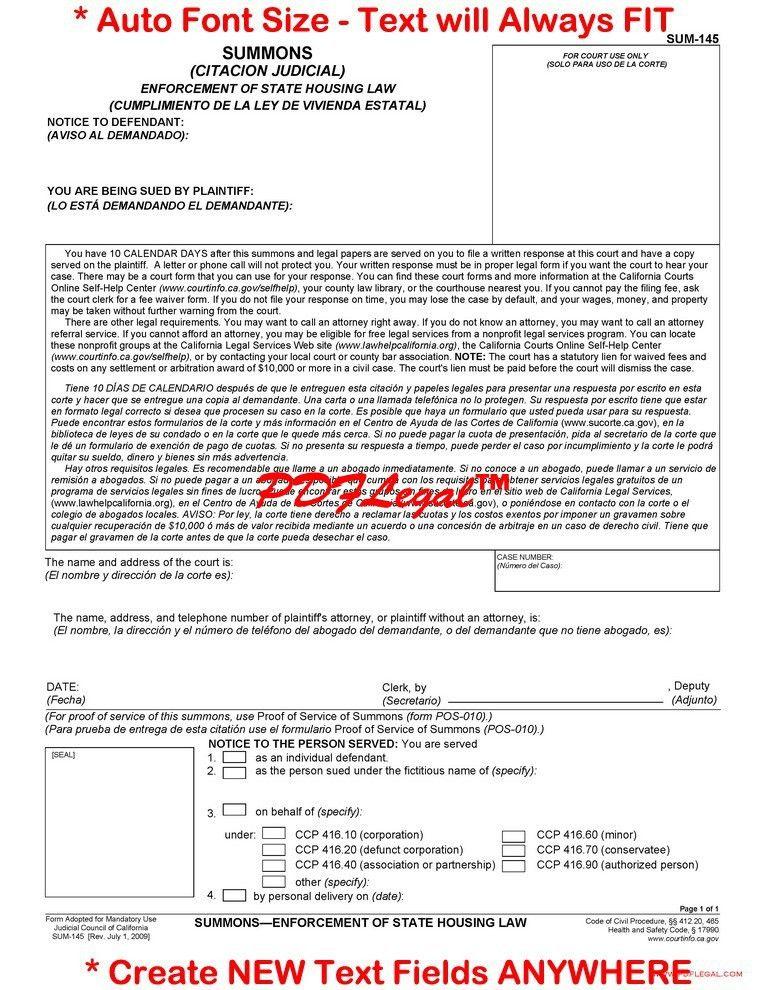 Summons - California Judicial Council Forms - California Legal Forms